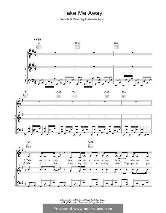 Take Me Away: Для голоса и фортепиано (или гитары) by Gabrielle Aplin