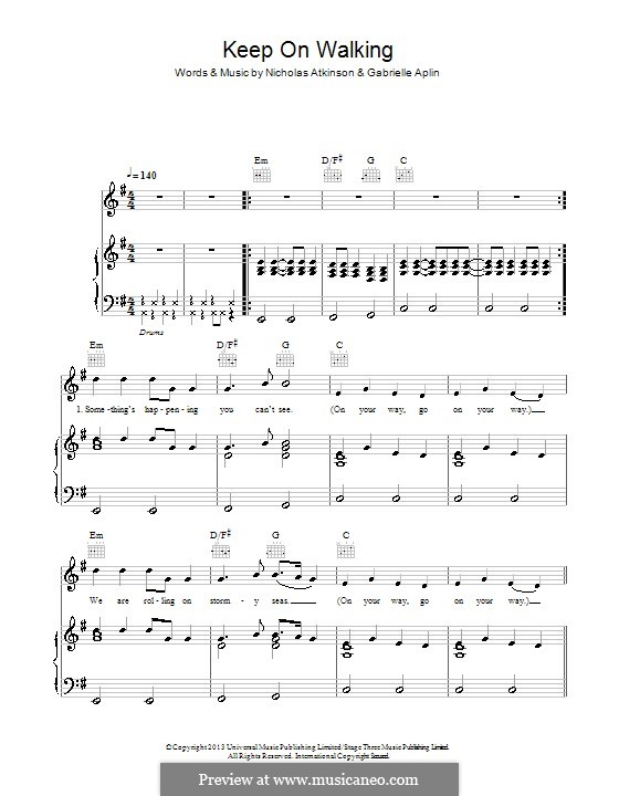 Keep on Walking: Для голоса и фортепиано (или гитары) by Nicholas Atkinson, Gabrielle Aplin