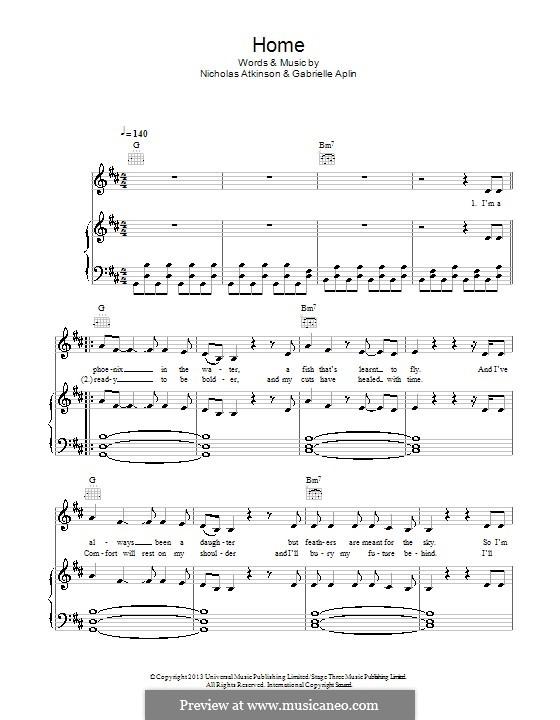 Home: Для голоса и фортепиано (или гитары) by Nicholas Atkinson, Gabrielle Aplin