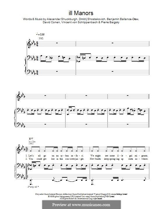 Ill Manors (Plan B): Для голоса и фортепиано (или гитары) by Дмитрий Шостакович, Alexander Shuckburgh, David Conen, Pierre Baigorry, Vincent von Schlippenbach