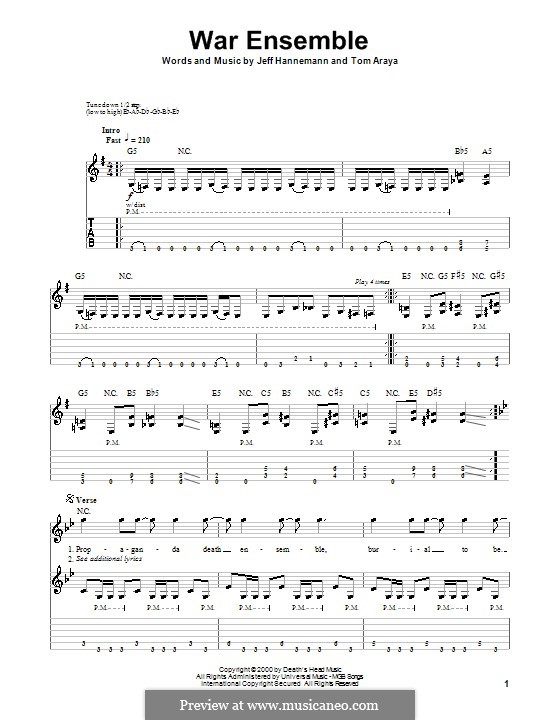 War Ensemble (Slayer): Для гитары с табулатурой by Jeffery Hanneman, Tom Araya