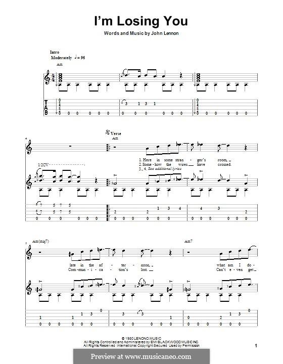 I'm Losing You: Для гитары с табулатурой by John Lennon