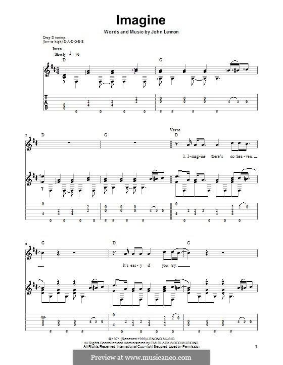 Imagine: Для гитары с табулатурой by John Lennon