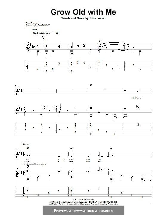 Grow Old With Me: Для гитары с табулатурой by John Lennon