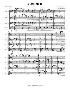 Тихая ночь (ноты для скачивания): Для четырёх флейт by Франц Ксавьер Грубер