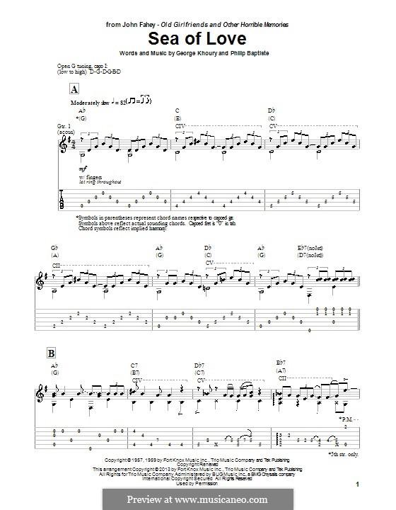 Sea of Love: Для гитары с табулатурой by George A. Khoury, Phil Baptiste
