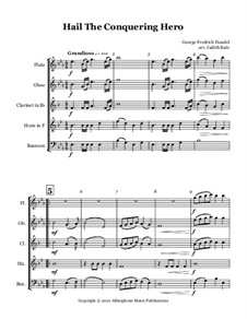 Иуда Маккавей, HWV 63: See, the conquering hero comes, for woodwind quintet by Георг Фридрих Гендель