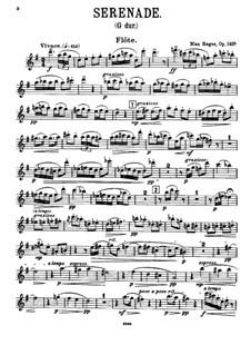 Серенада для флейты, скрипки и альта соль мажор, Op.141a: Партия флейты by Макс Регер