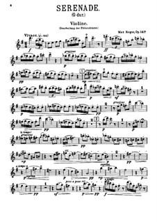Серенада для флейты, скрипки и альта соль мажор, Op.141a: Для двух скрипок и альта – партия второй скрипки by Макс Регер