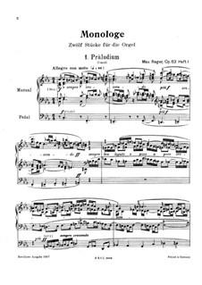 Монологи для органа, Op.63: Монологи No.1-4 by Макс Регер