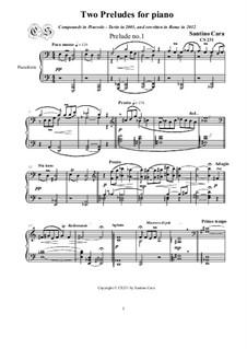 Two Preludes for Piano, CS231: Two Preludes for Piano by Santino Cara