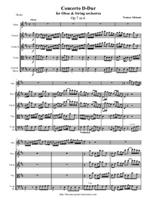 Concerto No.6 in D Major: For oboe and string orchestra by Томазо Альбинони