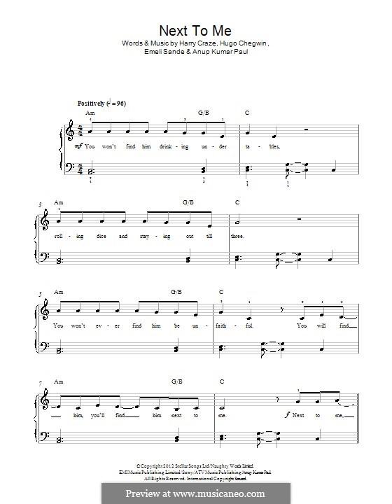 Next to Me: Для фортепиано by Emeli Sandé, Harry Craze, Hugo Chegwin, Anup Kumar Paul
