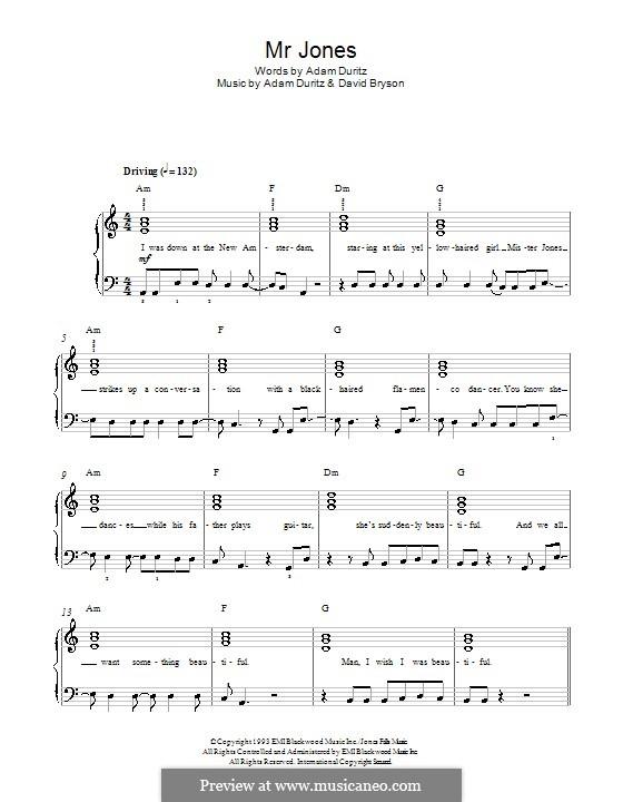 Mr. Jones (Counting Crows): Для фортепиано by Adam F. Duritz, David Bryson