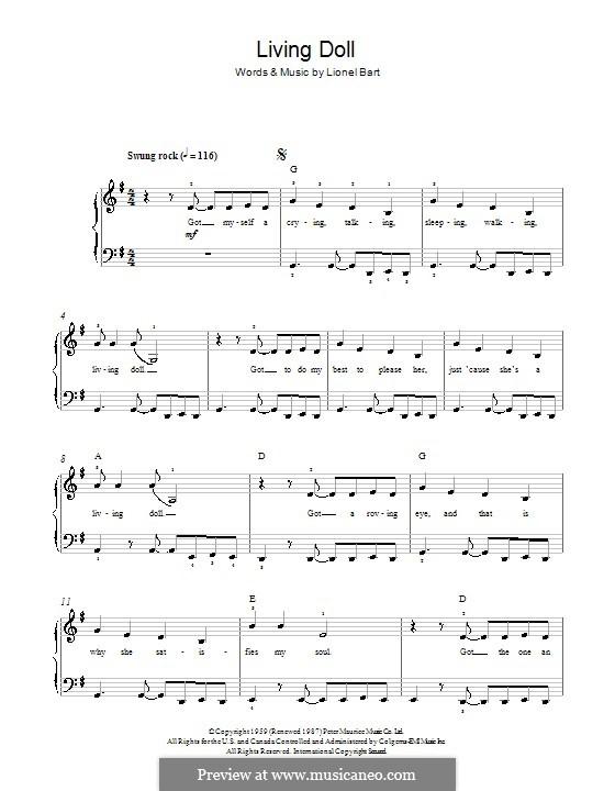 Living Doll: Для фортепиано by Lionel Bart