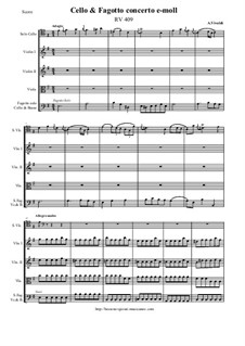 Concerto for Cello, Fagotto and Strings in E Minor, RV 409: Score and all parts by Антонио Вивальди