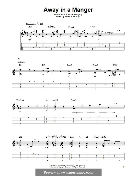 Away in a Manger (Printable Scores): Для гитары с табулатурой by Джеймс Р. Мюррей