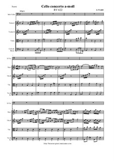 Concerto for Cello and Strings in A Minor, RV 422: Score and parts by Антонио Вивальди