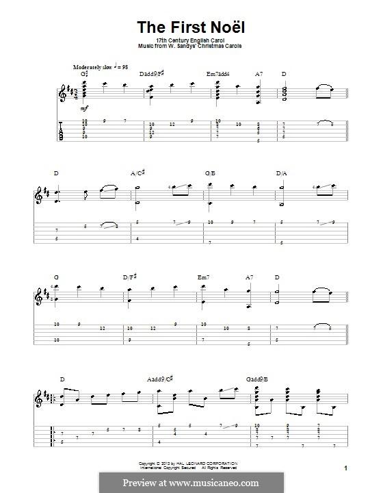 The First Nowell (The First Noël), Printable scores: Для гитары с табулатурой by folklore