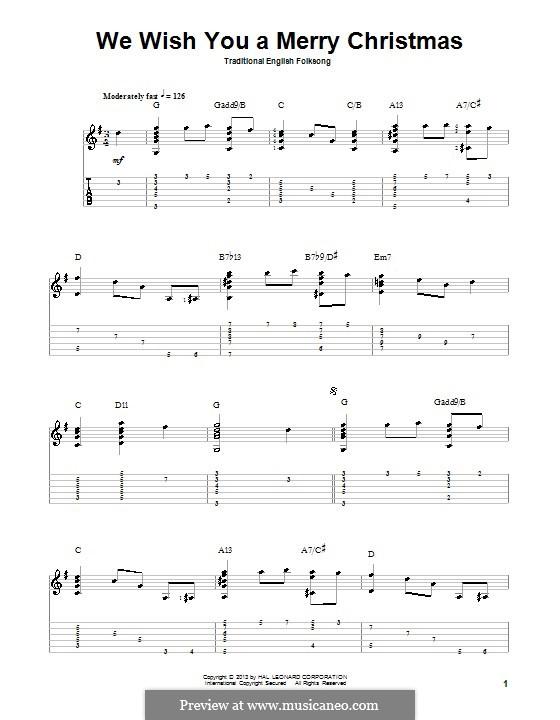 We Wish You a Merry Christmas (Printable Scores): Для гитары с табулатурой by folklore