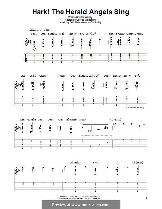Hark! The Herald Angels Sing, for Solo Instrument: Для гитары с табулатурой by Феликс Мендельсон-Бартольди