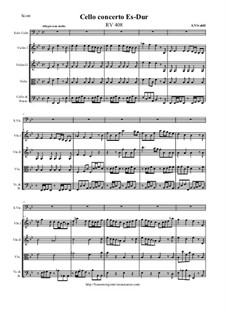 Concerto for Cello and Strings in E Flat Major, RV 408: Score and all parts by Антонио Вивальди