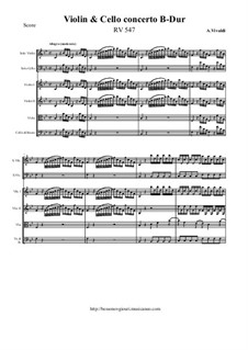 Concerto for Violin, Cello and Strings in B Flat Major, RV 547: Score and all parts by Антонио Вивальди