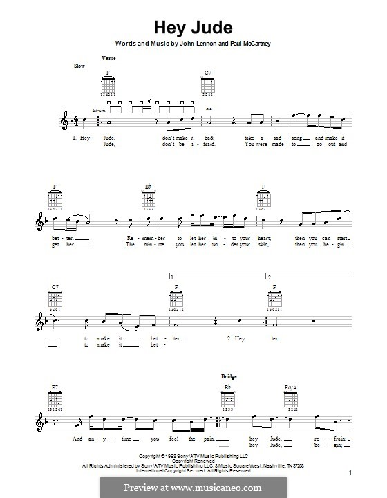 Hey Jude (The Beatles), for One Instrument: For electric guitar by John Lennon, Paul McCartney