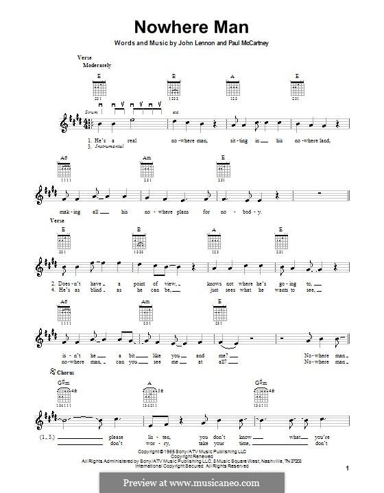 Nowhere Man (The Beatles): For electric guitar by John Lennon, Paul McCartney