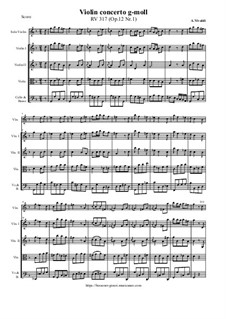 Concerto for Violin and Strings in G Minor, RV 317 Op.12 No.1: Score and all parts by Антонио Вивальди