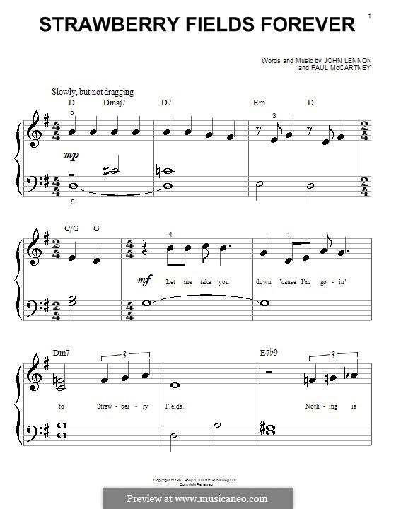 Strawberry Fields Forever (The Beatles): Для фортепиано by John Lennon, Paul McCartney