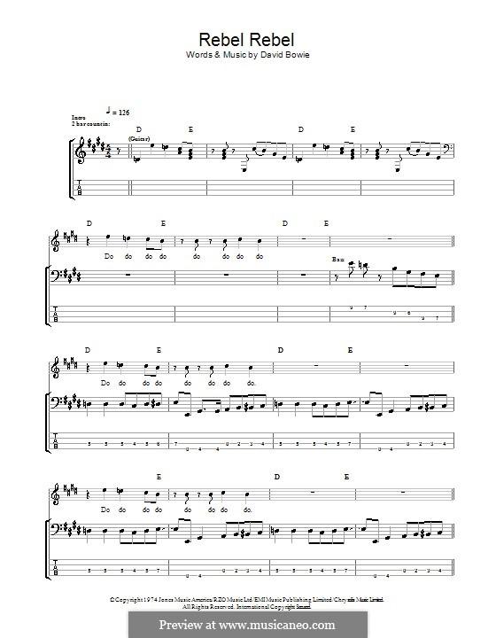 Rebel Rebel: Для бас-гитары с табулатурой by David Bowie