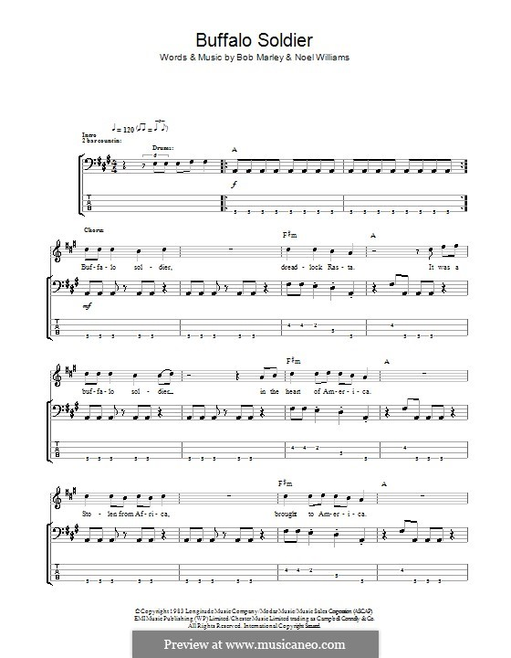 Buffalo Soldier (Bob Marley): Для бас-гитары с табулатурой by Noel Williams