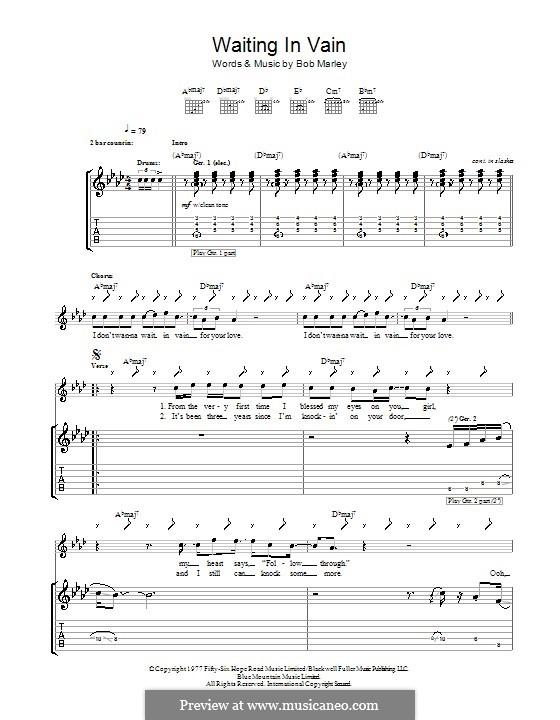 Waiting in Vain: Для гитары с табулатурой by Bob Marley