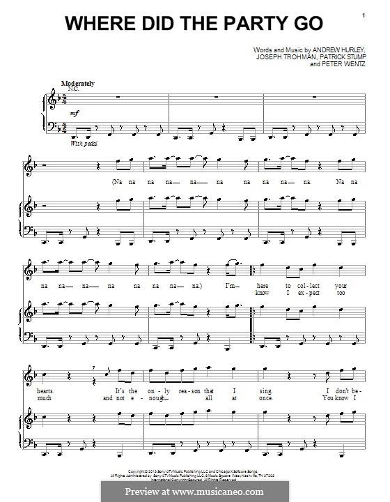 Where Did the Party Go: Для голоса и фортепиано (или гитары) by Andrew Hurley, Joseph Trohman, Patrick Stump, Peter Wentz
