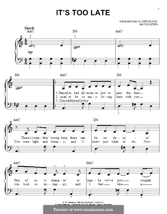 It's Too Late: Для фортепиано by Carole King