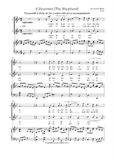 Italian folksong 'Il Pecoraio' for 2 voices and piano: Italian folksong 'Il Pecoraio' for 2 voices and piano by folklore