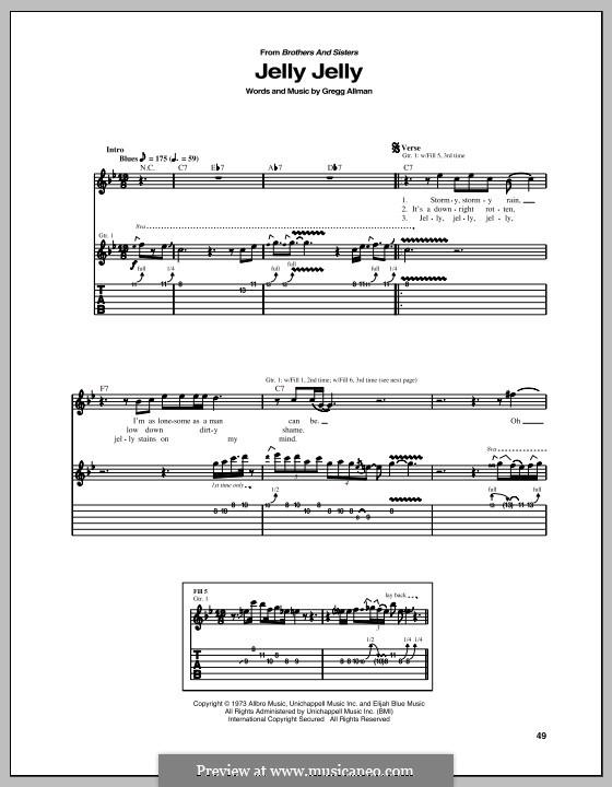 Jelly Jelly: Для гитары с табулатурой by Gregg Allman