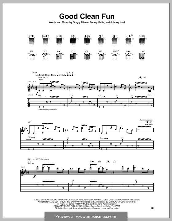 Good Clean Fun (The Allman Brothers Band): Для гитары с табулатурой by Dickey Betts, Gregg Allman