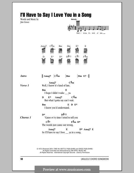I'll Have to Say I Love You in a Song: Для укулеле by Jim Croce