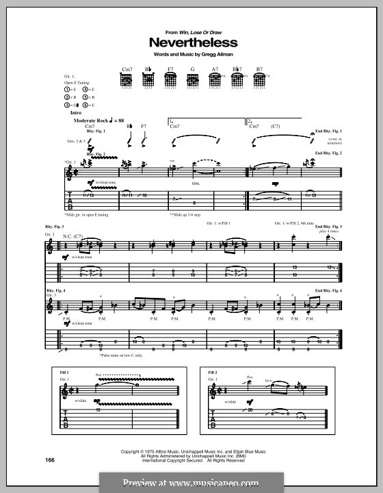 Nevertheless: Для гитары с табулатурой by Gregg Allman