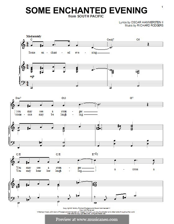 Some Enchanted Evening (from South Pacific): Для голоса и фортепиано by Richard Rodgers
