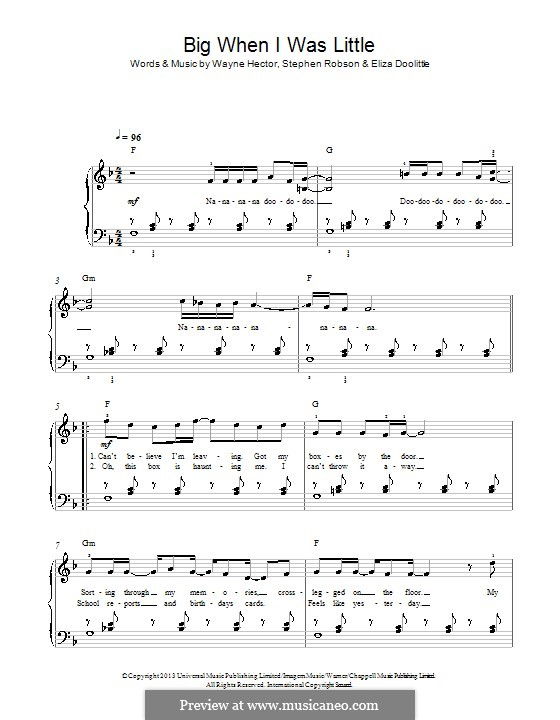 Big When I Was Little: Для фортепиано by Steve Robson, Wayne Anthony Hector, Eliza Doolittle
