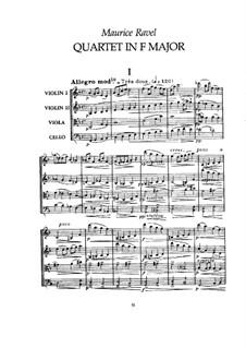 Струнный квартет фа мажор, M.35: Партитура by Морис Равель