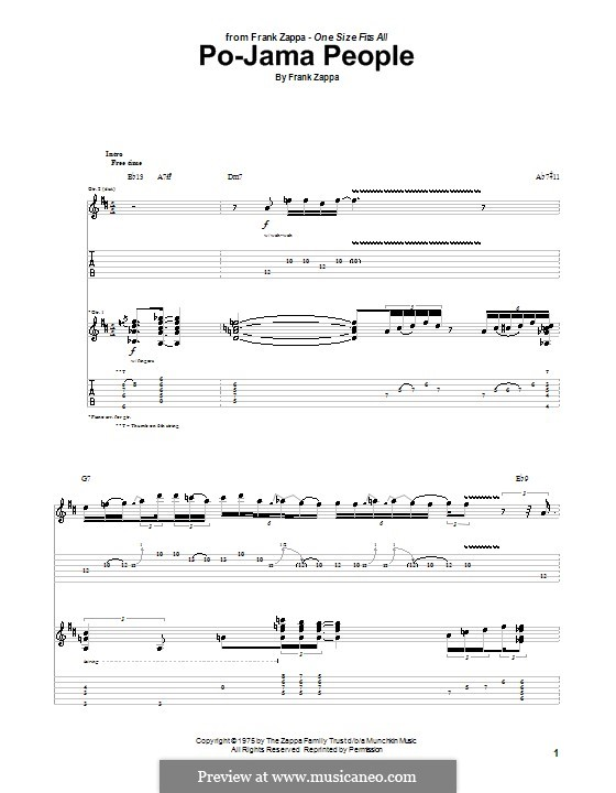 Po-Jama People: Для гитары с табулатурой by Frank Zappa