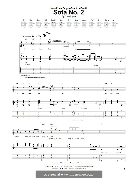 Sofa No.2: Для гитары с табулатурой by Frank Zappa