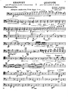 Струнный квартет фа мажор, M.35: Партия виолончели by Морис Равель