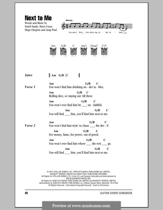 Next to Me: Текст и аккорды by Emeli Sandé, Harry Craze, Hugo Chegwin, Anup Kumar Paul
