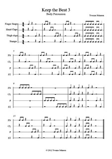Keep The Beat: No.3, for orff body percussion by Yvonne Johnson
