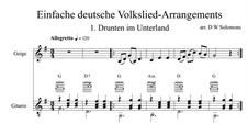 Drunten im Unterland: For violin and guitar by folklore